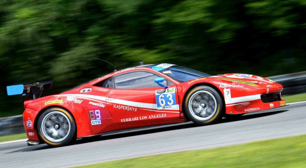 Hour Photo/Alex von Kleydorff. Westport's Bill Sweedler drives the first stint of the Northeast Grand Prix at Lime Rock Park, together with co driver Townsend Bell the Scuderia Corsa team finished 9th in the GT Daytona class.