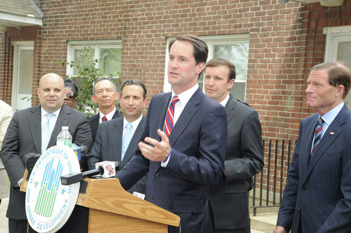 U.S. Congressman Jim Himes at Washington Village in South Norwalk during a press conference announcing 30 million dollars to help reconstruct the are. Hour photo/Matthew Vinci