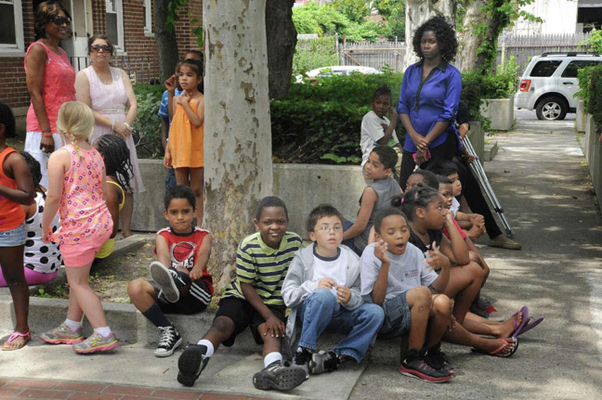 Children from Norwalk's Washington Village at the press conference held on Monday. hour photo/Matthew Vinci