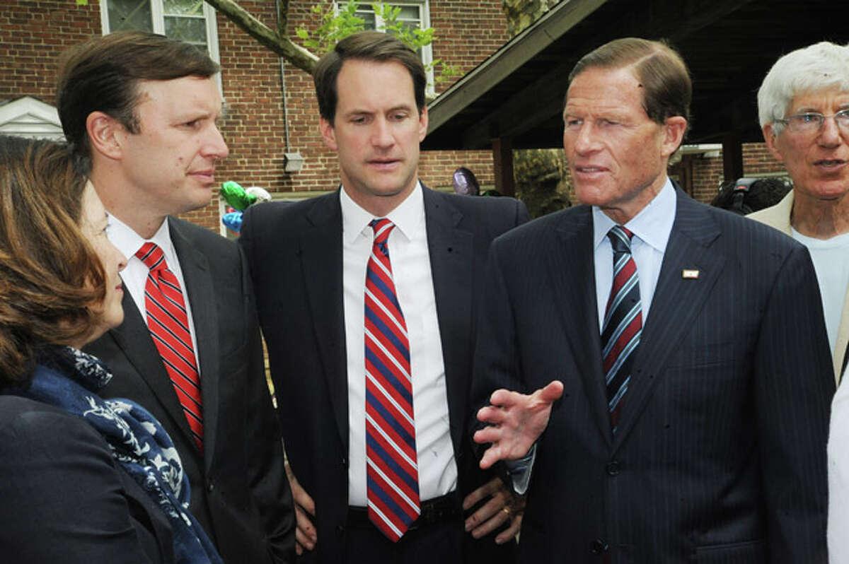 U.S Senator Chris Murphy, Congressman Jim Himes and U. S. Senator Richard Blumenthal Monday at the Washington Village Press conference in Norwalk. Hour photo/Matthew Vinci