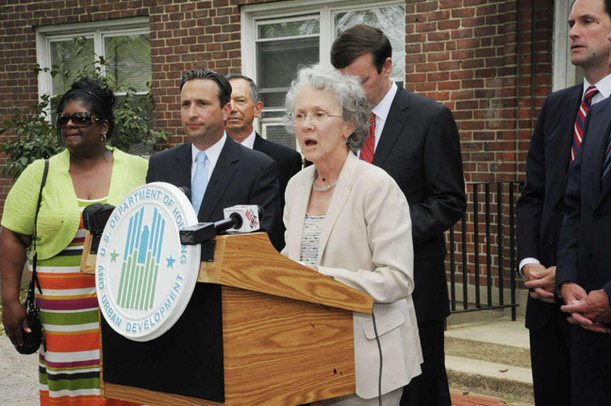 Candice Mayer, Deputy Director of the Norwalk Housing Authority at the press conference Monday in Norwalk's Washington Village. Hour photo/Matthew Vinci