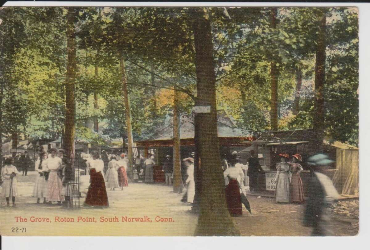 This postcard c.1900 features some of concessions in The Grove at Roton Point, including the Ice Cream Stand