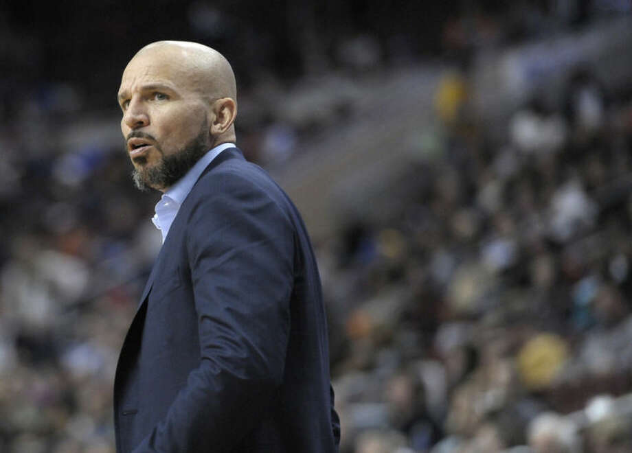 In this Saturday, April 5, 2014 photo, Brooklyn Nets head coach Jason Kidd is seen during an NBA basketball game against the Philadelhia 76ers, in Philadelphia. Kidd is talking to the Milwaukee Bucks about a position after losing his bid for front-office power with the Nets, a person with knowledge of the details said Saturday, June 28, 2014. (AP Photo/Michael Perez)