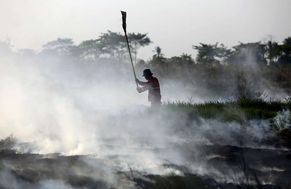A fireman battles a peatland fire on a field in Simpang Pelabuhan Dalam, South Sumatra, Indonesia, Tuesday, July 28, 2015. Government negligence, rampant development and illegal land clearing, often combined, spark wildfires in Indonesia that annually ravage thousands of acres of forest and could cover parts of neighboring Malaysia and Singapore in a thick noxious haze. (AP Photo)