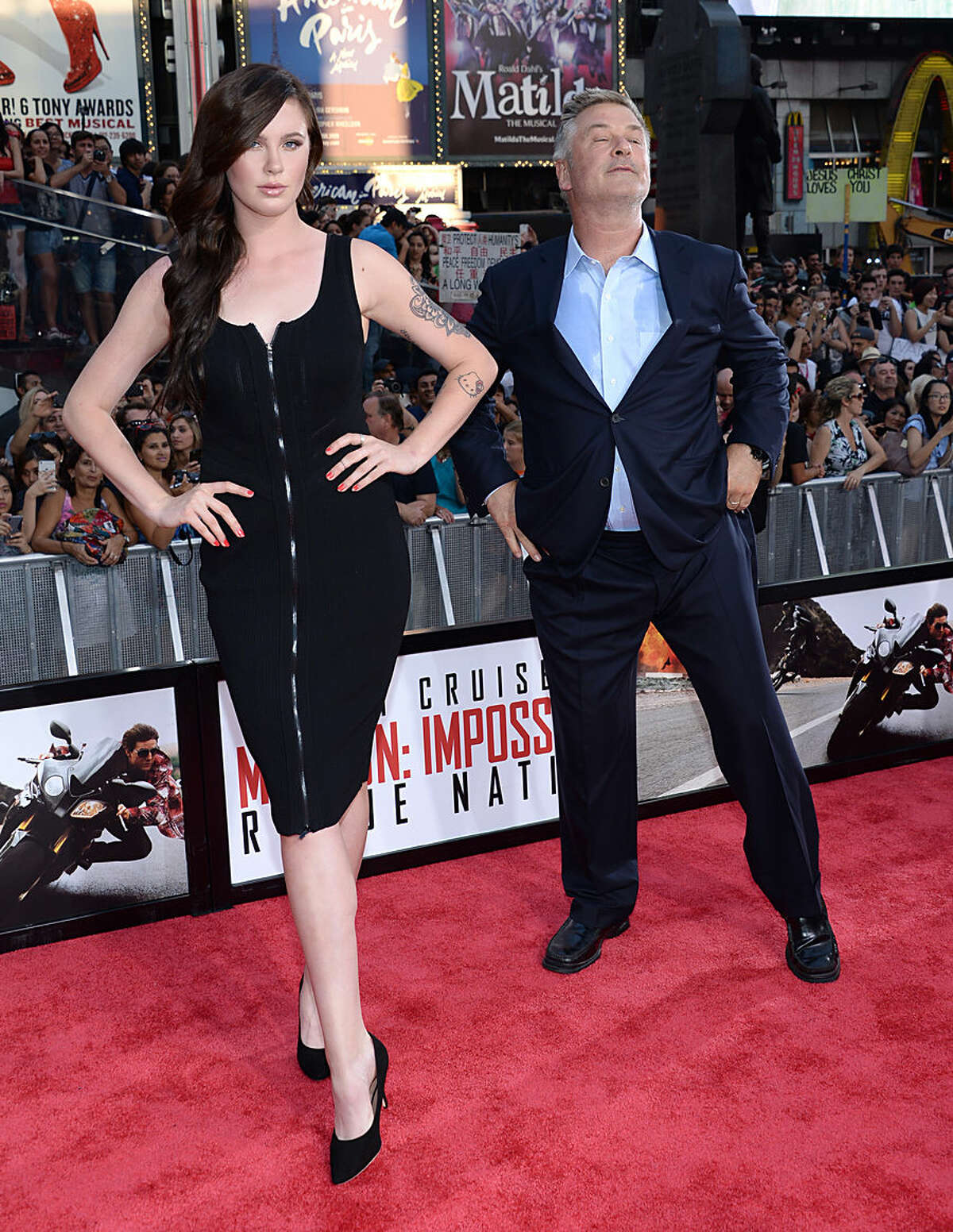 Ireland Baldwin, left, and father actor Alec Baldwin attend the premiere of