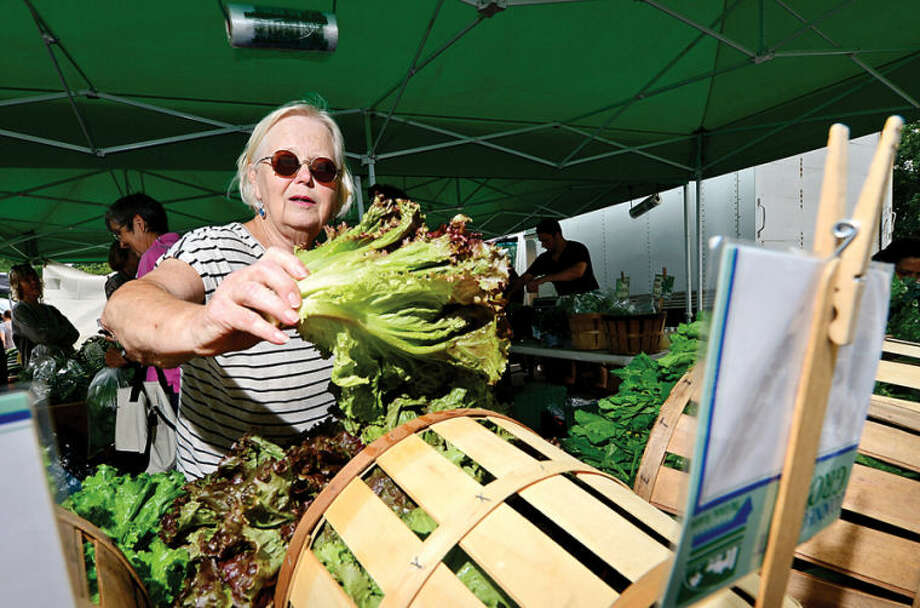 Hour photo / Erik Trautmann Janette Duchnicki picks out fresh lettuce from Fort Hill farm at the annual Westport Farmers' Market Thursday morning.