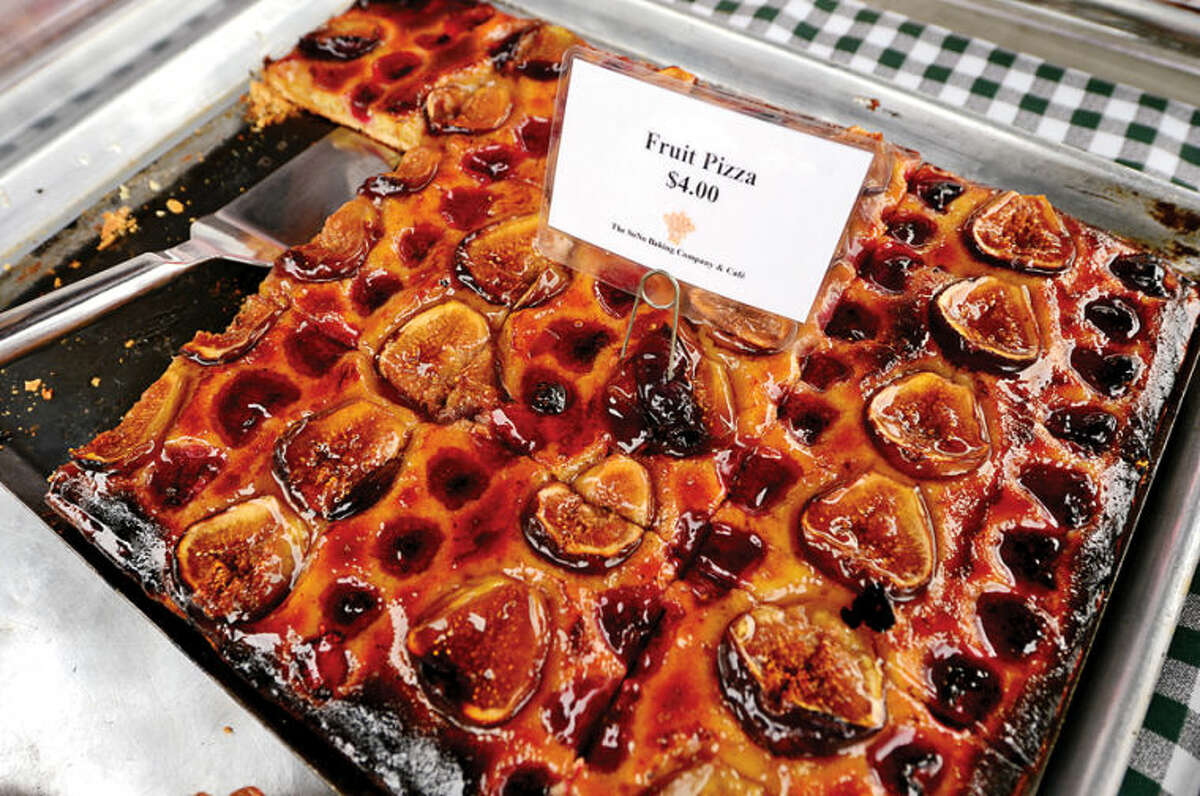 Hour photo / Erik Trautmann Fruit Pizza available from SoNo Bakery at the annual Westport Farmers' Market Thursday morning.