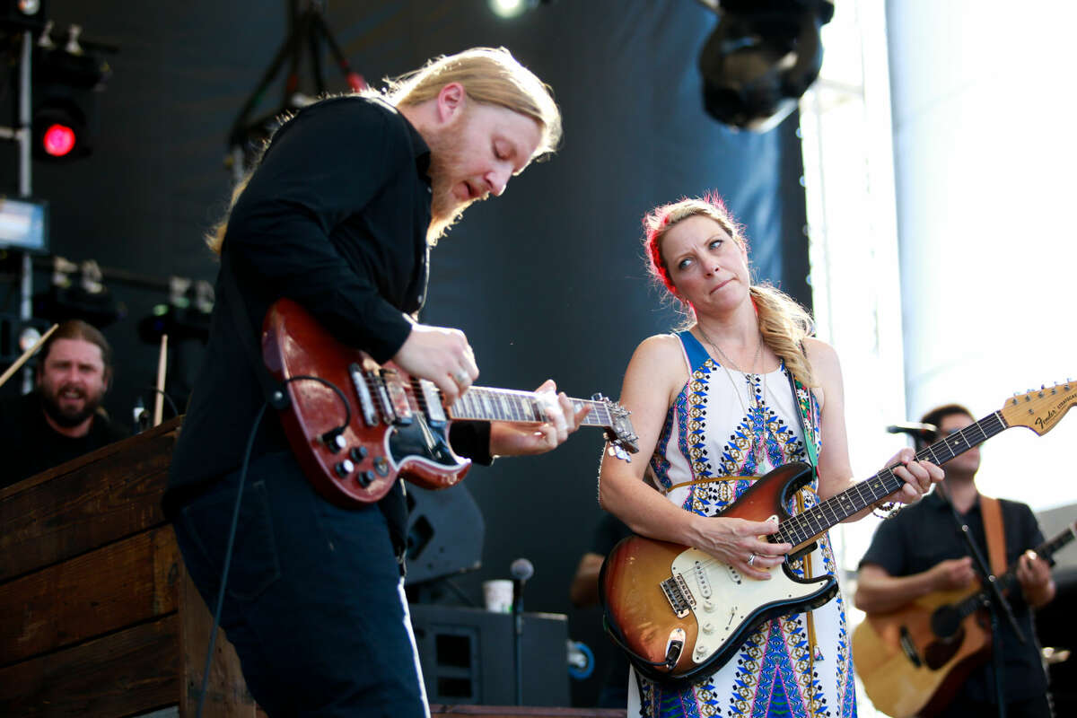 Hour photo/Chris Palermo. Tedeschi Trucks Band performs during the Gathering of the Vibes festival at Seaside Park in Bridgeport Friday.