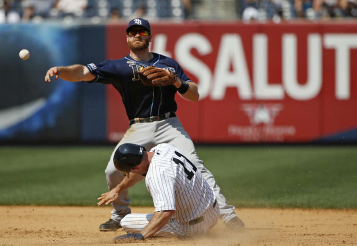 Tampa Bay Rays second baseman Logan Forsythe (10) throws to first after forcing out New York Yankees Brett Gardner (11) after the Yankees Derek Jeter (2) hit into a seventh-inning fielder's choice in a baseball game at Yankee Stadium in New York, Wednesday, July 2, 2014. (AP Photo/Kathy Willens)