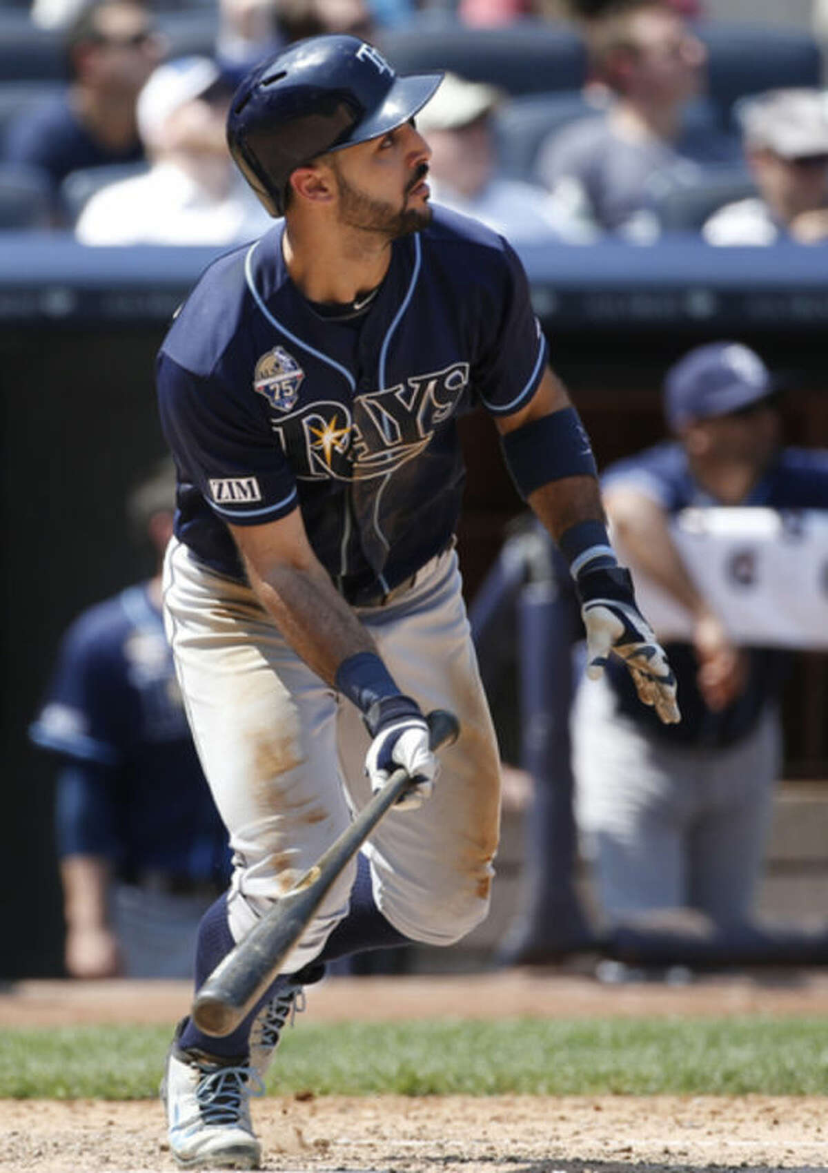 Tampa Bay Rays' Sean Rodriguez watches his sixth-inning, two-run home run off New York Yankees relief pitcher Shawn Kelley2wbb in a baseball game at Yankee Stadium in New York, Wednesday, July 2, 2014. (AP Photo/Kathy Willens)
