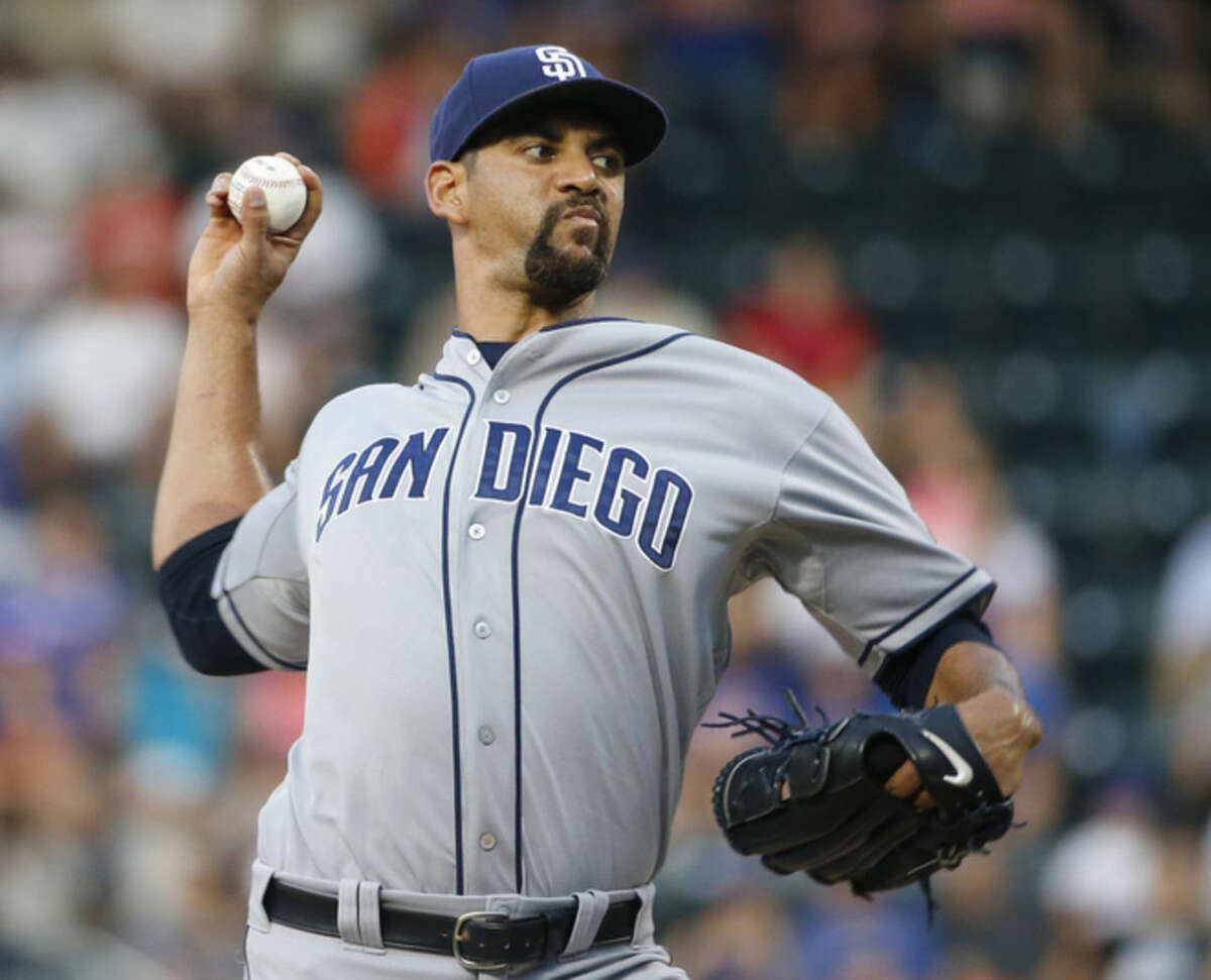 San Diego Padres' Tyson Ross delivers in the first inning of a baseball game against the New York Mets in New York, Wednesday, July 29, 2015. (AP Photo/Kathy Willens)