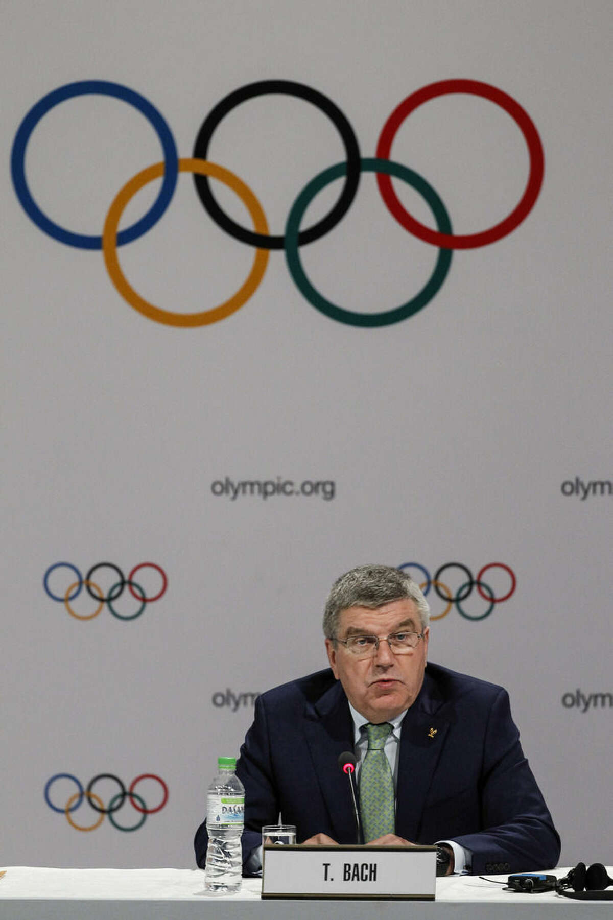 International Olympic Committee (IOC) President Thomas Bach speaks during a press conference in Kuala Lumpur, Malaysia, Wednesday, July, 29, 2015. Malaysia is hosting the 128th IOC executive board meeting where the vote for the host cities of the 2022 Olympic Winter Games and for the 2020 Youth Olympic Winter Games will take place. (AP Photo/Joshua Paul)