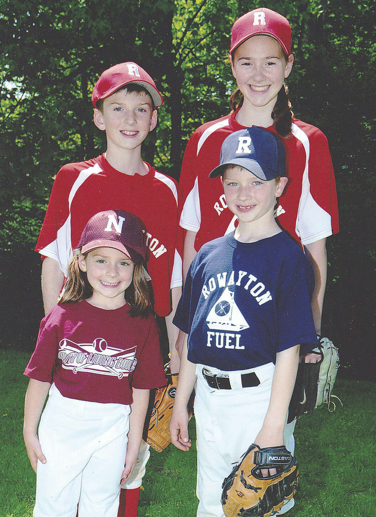 Contributed Photo The Root's Griffin, top left, Megan, top right, Lindsay, bottom left and Kyle pose together in their baseball uniforms in 2010.