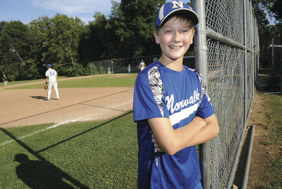 Hour photo/Matthew VinciNorwalk's Kyle Root has excelled this summer for the Norwalk 11-year-old Cal Ripken team.