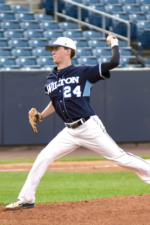 JT Morin is one of eight players from Wilton who will play college baseball in the fall. (John Nash/Hour photo)