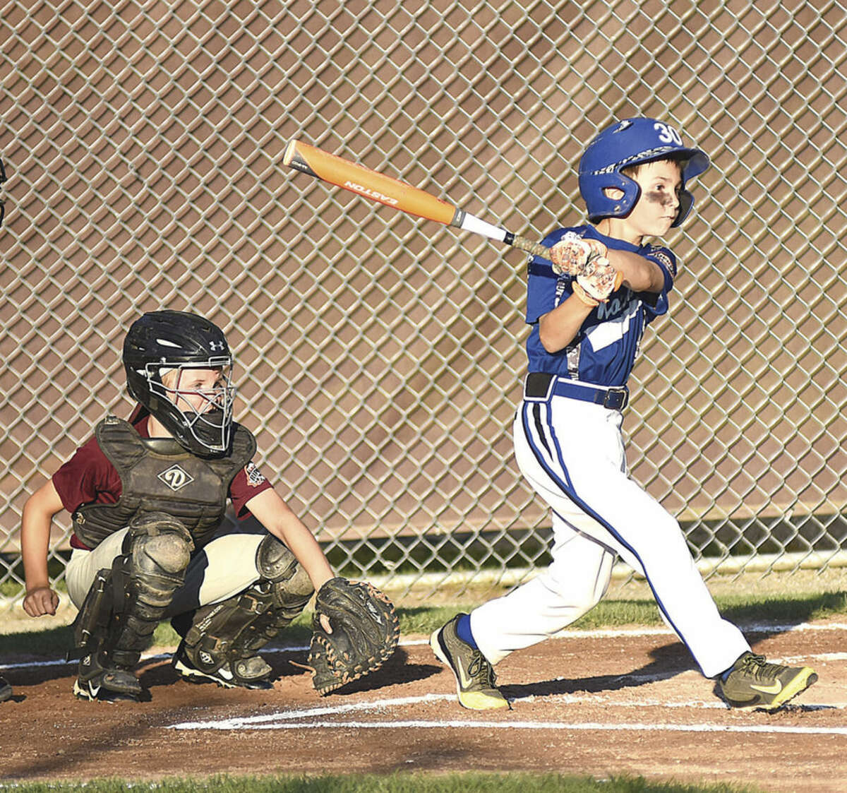 Hour photo/John Nash Norawlk 9s lead-off hitter Wil Staltzer sets the table for his team which will play in this weekend's 9-year-old All-Star New England Regionals in Hebron.
