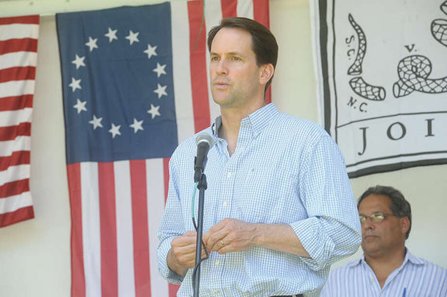 In this file photo, U.S. Rep. Jim Himes, D-4, speaks Sunday at the Ice Cream Social at Lockwood Mathews Mansion where the the Flag Day ceremony took center stage in the afternoon. Hour photo/Matthew Vinci