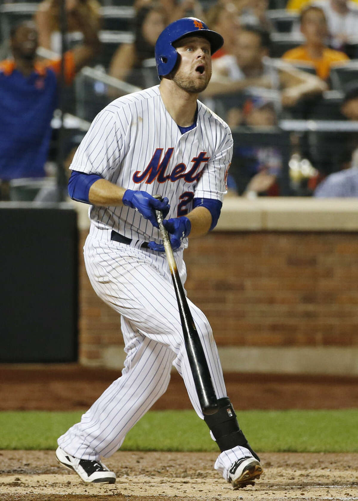 New York Mets Lucas Duda reacts to hitting a third-inning, two-run home run off Washington Nationals starting pitcher Jordan Zimmermann during a baseball game in New York on Sunday, Aug. 2 2015. Zimmerman allowed five runs in the inning, including a second, two-run home run to the Mets' Curtis Granderson. (AP Photo/Kathy Willens)