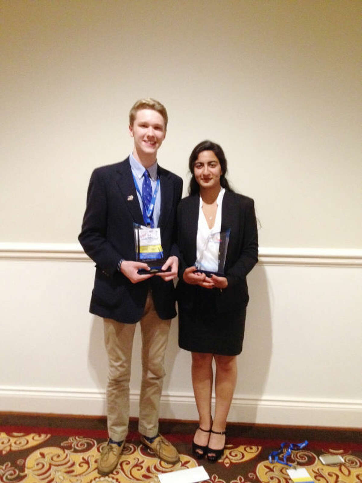 Westhill High School graduates Shikha Jaaswal and Will Hart were recently recognized at the FBLAAwards of Excellence.