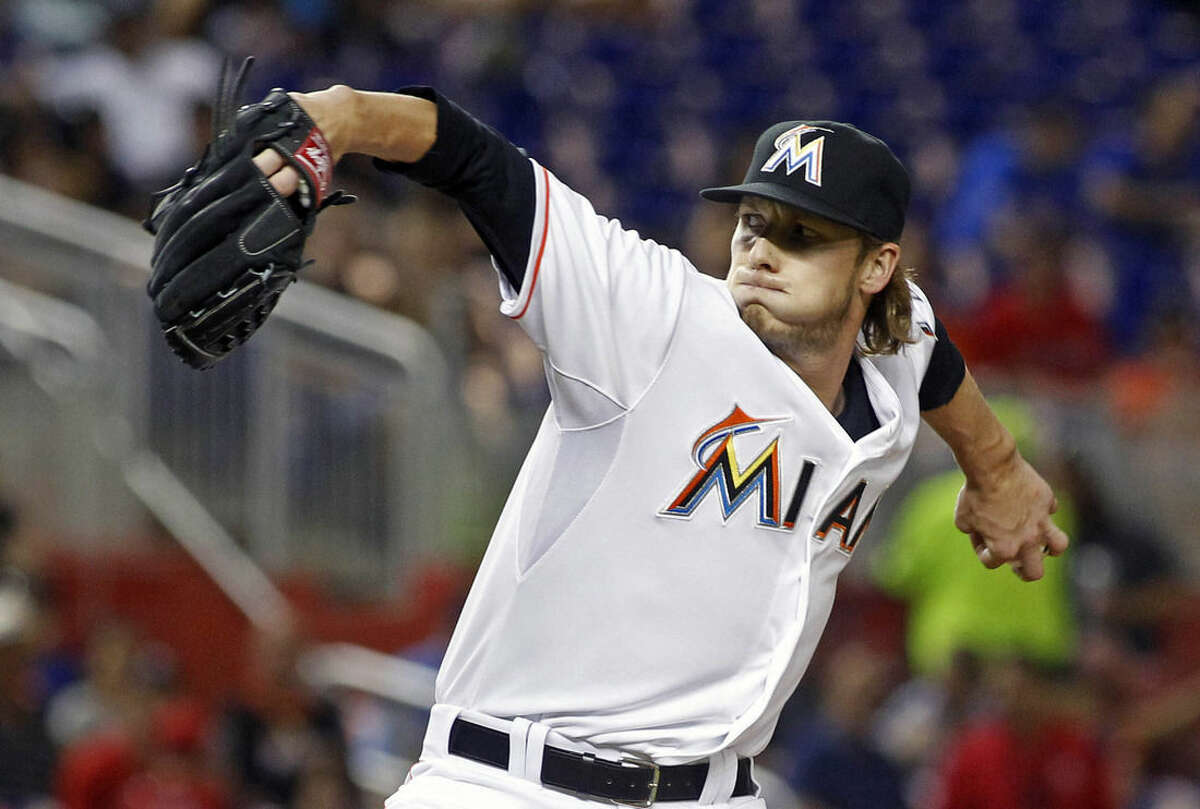 Miami Marlins relief pitcher Adam Conley throws against the New York Mets in the fifth inning during a baseball game in Miami, Tuesday Aug. 4, 2015. (AP Photo/Joe Skipper)