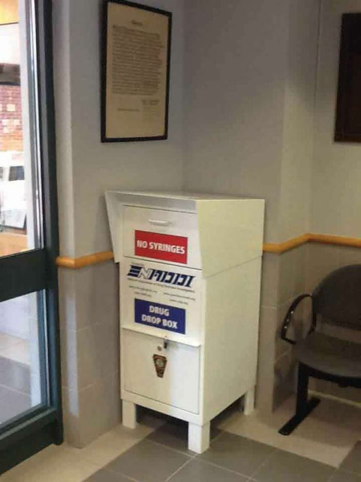 Hour photo The new drug drop box at Norwalk Police Headquarters.