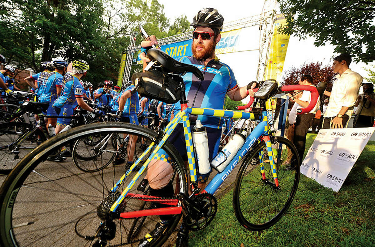 More than 400 cyclists, including Ari Thaler, from across the United States and Canada participate in the annual 2015 Bike4Chai event in Stamford Wednesday morning.The group raised $5 million for Camp Simcha, an overnight summer camp for children with cancer, chronic conditions, genetic illnesses and disabilities. The first day of the ride will consist of 100 miles through Connecticut and Northern New Jersey (total climb: 7,500 feet). The second day will consist of 65 miles through New Jersey and New York (total climb: 4,500 feet).