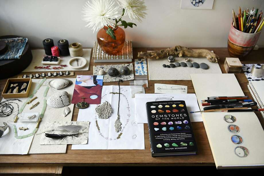 The desk of gallerist and artist April Higashi Higashi in her live-work building in Berkeley. Photo: Michael Short, Special To The Chronicle