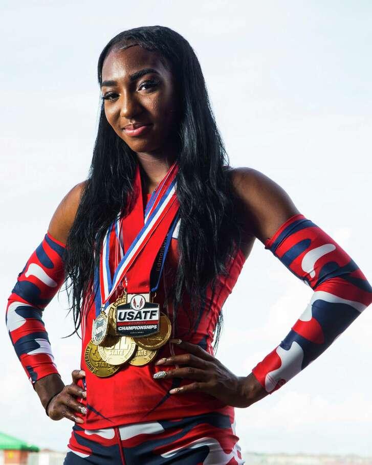 Cypress Springs long jumper Samiyah Samuels poses for a portrait on Wednesday, June 1, 2016, in Houston. Samuels is the Houston Chronicle's All-Greater Houston track female athlete of the year. ( Brett Coomer / Houston Chronicle )