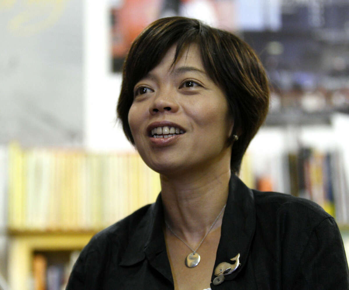 Director Keiko Yagi speaks during an interview in Tokyo, Friday, Aug. 7, 2015. Her new documentary,