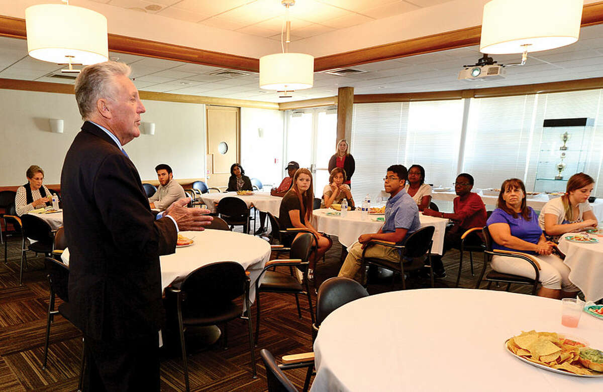 Hour photo / Erik Trautmann Mayor Harry Rilling thanks participants as the Norwalk Community College hosts a luncheon Friday to honor those area high school students in the Mayor's Summer Youth Program at Norwalk Community College.