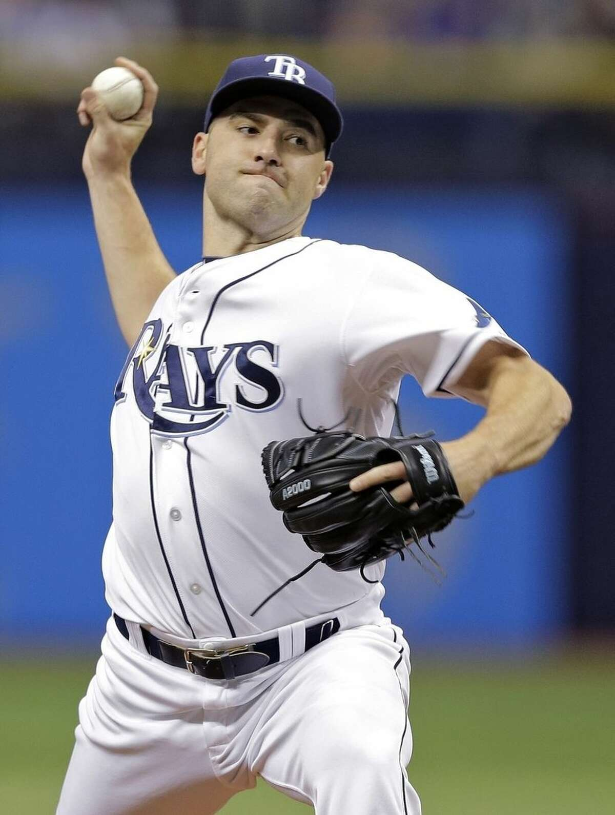 Tampa Bay Rays starting pitcher Nathan Karns delivers to the New York Mets during the first inning of an interleague baseball game Saturday, Aug. 8, 2015, in St. Petersburg, Fla. (AP Photo/Chris O'Meara)