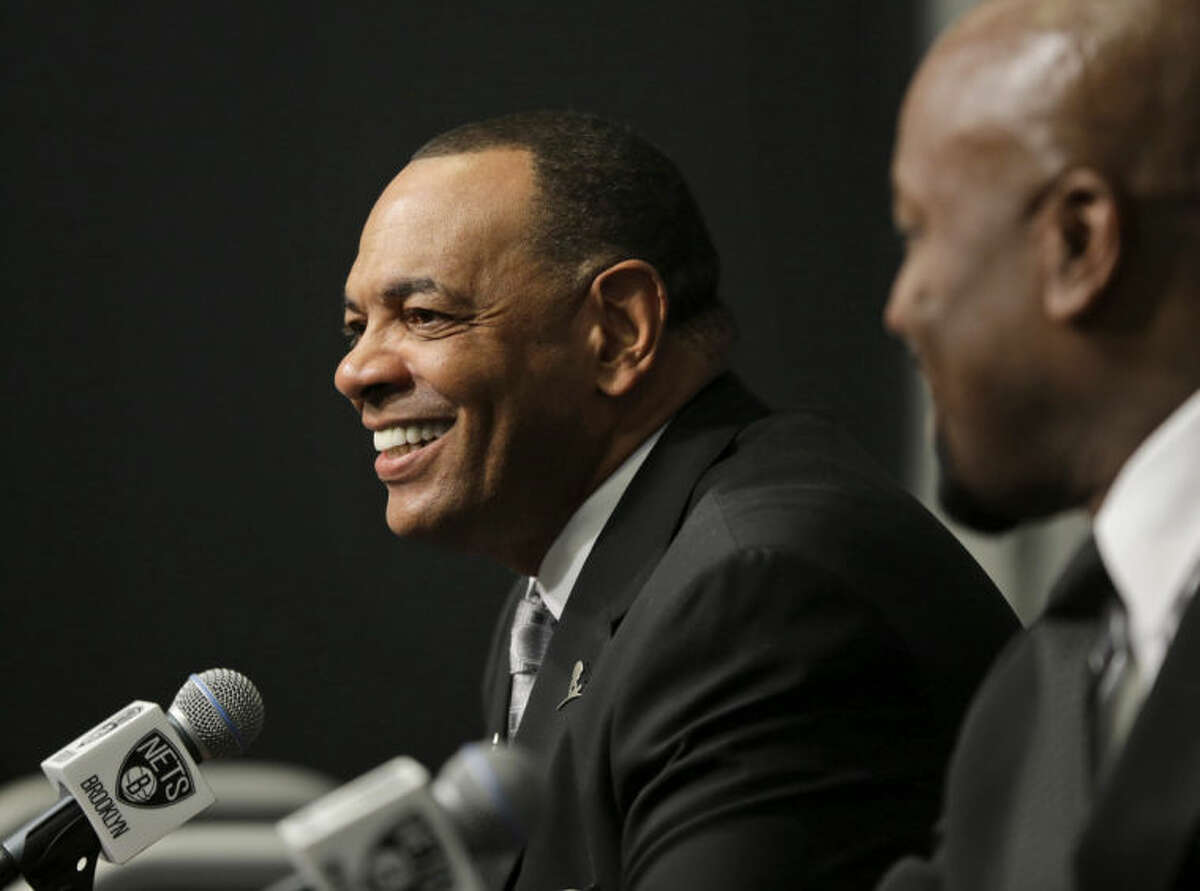 Lionel Hollins speaks to the media during a news conference at the Barclays Center in New York, Monday, July 7, 2014. Hollins was introduced as the new head coach of the Brooklyn Nets. (AP Photo/Seth Wenig)