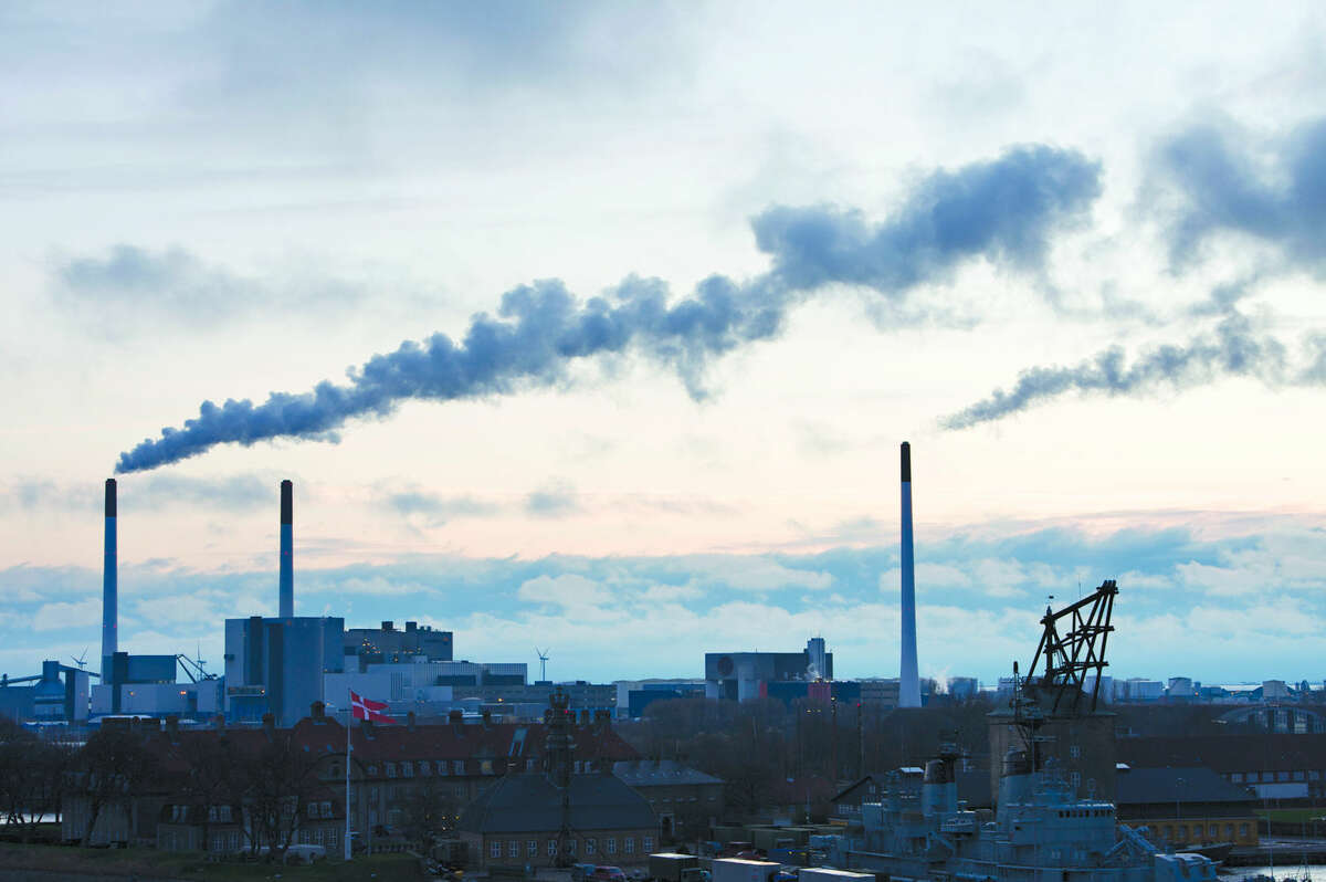 Smokestacks in Copenhagen in the early morning. The picture was taken during the COP15 climate summit.