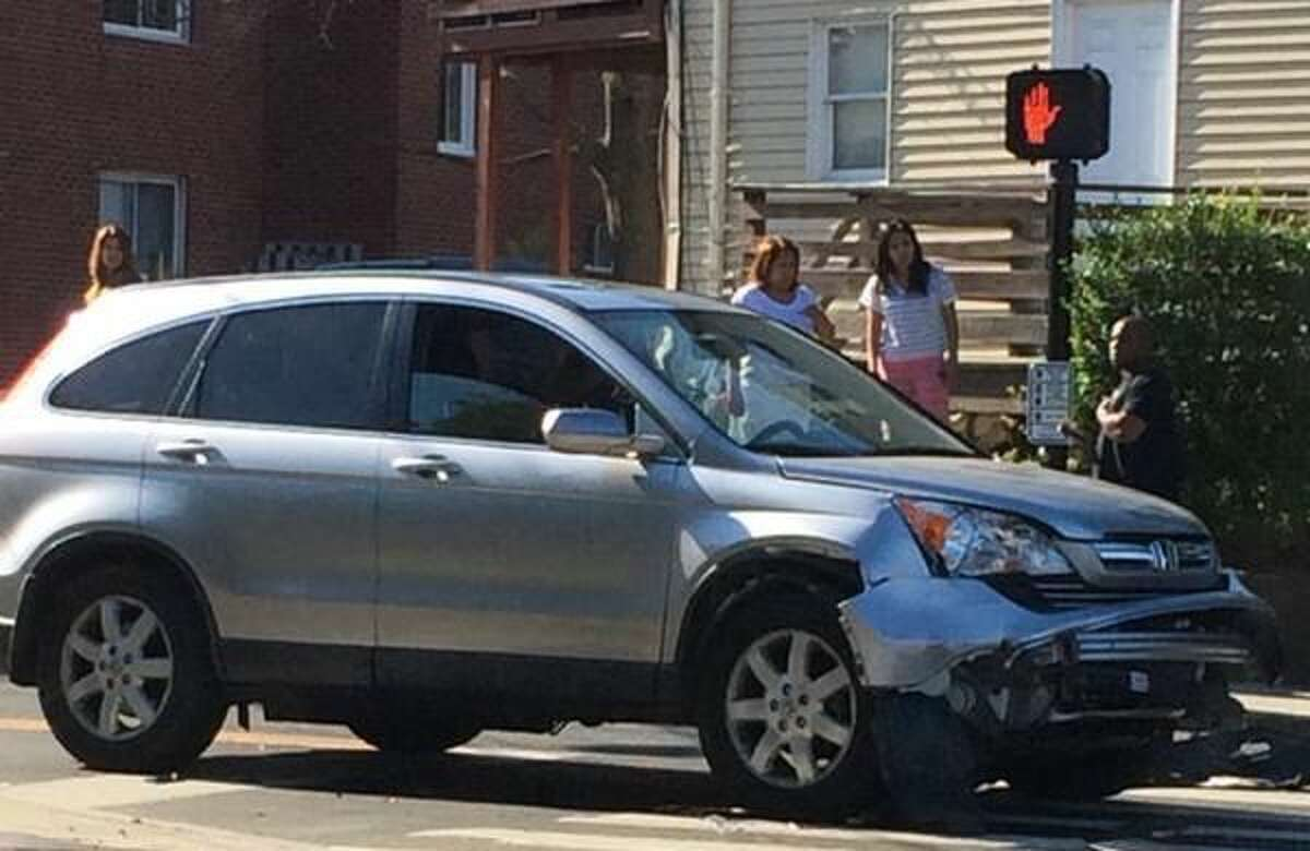 Hour photo/Jeff Dale A two car MVA in Norwalk slowed traffic by Van Zant and Fort Point streets Monday morning. It was unclear if there were any injuries.