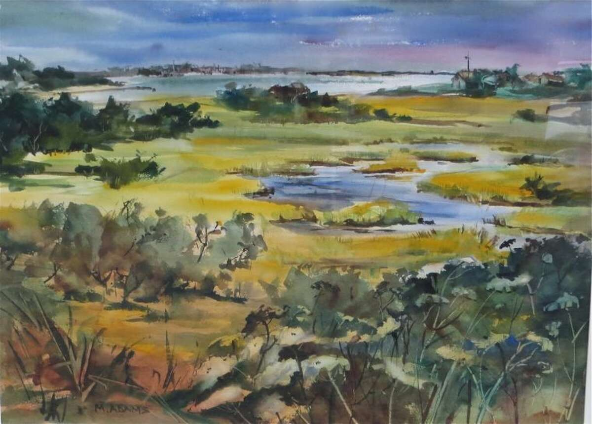 Quidnet Pond from Sconset Road. Watercolor, 1970 Mimi Adams