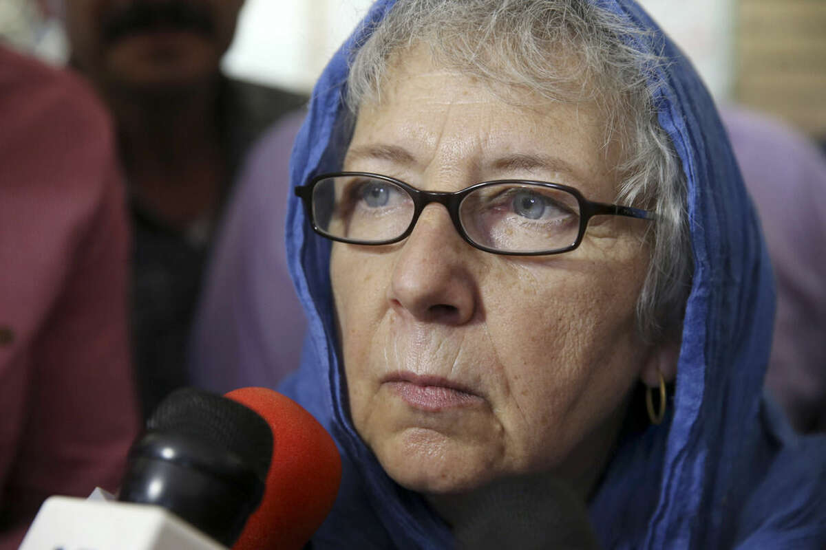 Mary Rezaian, mother of detained Washington Post correspondent Jason Rezaian, speaks to the media, as she leaves a Revolutionary Court building in Tehran, Iran, Monday, Aug. 10, 2015. The final hearing of Rezaian detained in Iran more than a year ago and charged with espionage ended on Monday, Aug. 10, 2015 with a verdict expected in the coming days in a trial that has been condemned by the newspaper and press freedom groups. (AP Photo/Vahid Salemi)