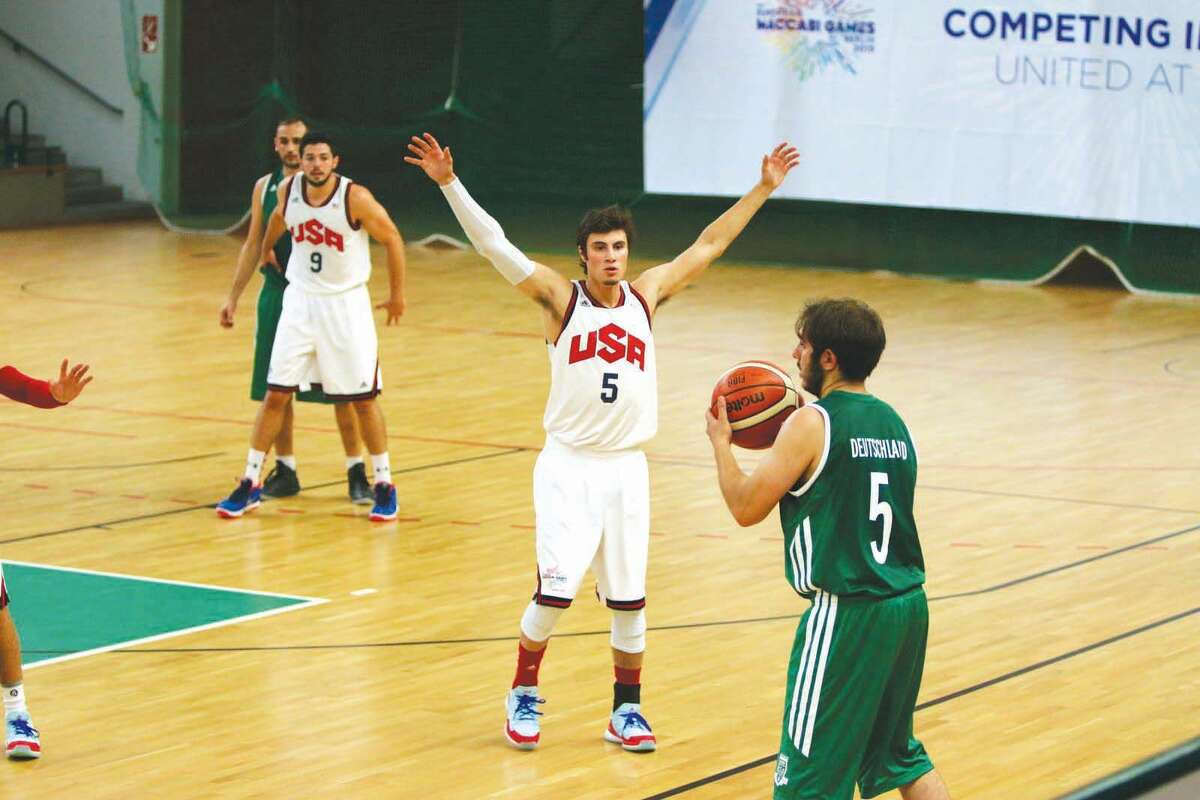 Westport's David Katz (5) plays defense against Germany during the European Maccabi Games in Berlin, Germany. (Contributed photo)