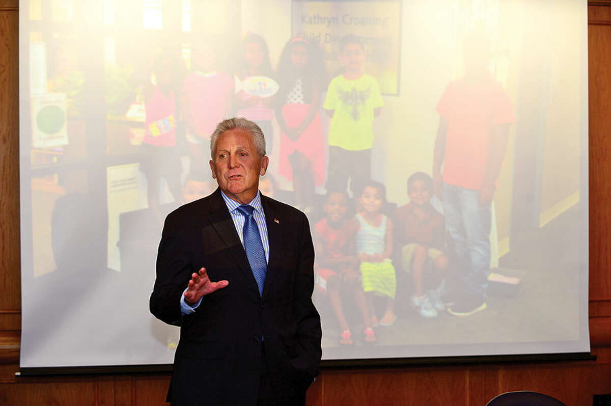 Hour photo / Erik Trautmann In this file photo, Mayor Harry Rilling thanks participants as the Norwalk Community College hosts a luncheon Friday to honor those area high school students in the Mayor's Summer Youth Program at Norwalk Community College.