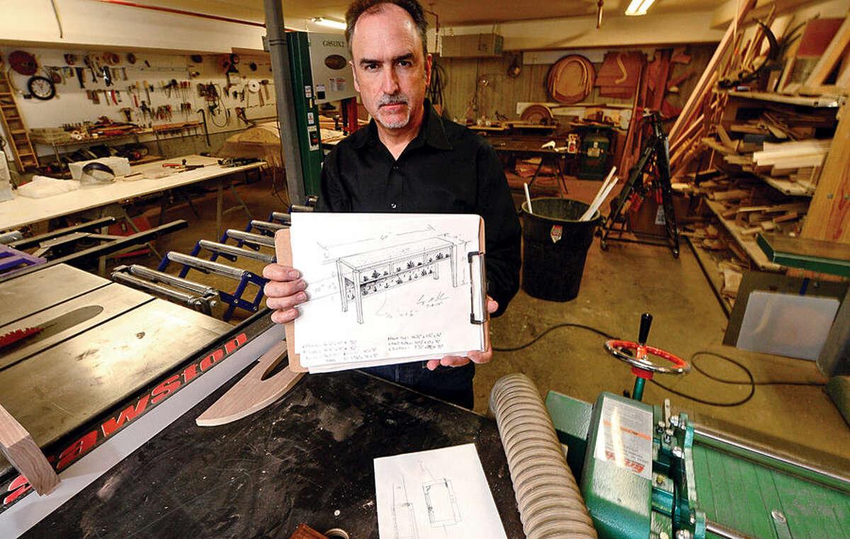 Artisanal furniture maker Gregory Clark at his workshop in Wilton.