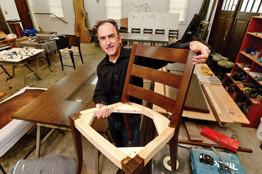 Artisanal furniture maker Gregory Clark at his workshop in Wilton.