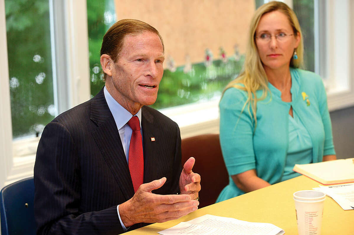 Hour photo / Erik Trautmann U.S. Senator Richard Blumenthal (D-Conn.), Scarlett Lewis of the Jesse Lewis Choose Love Foundation, educators and experts discuss the importance of social and emotional learning Tuesday at the Child Guidance Center of Mid-Fairfield County in Norwalk.