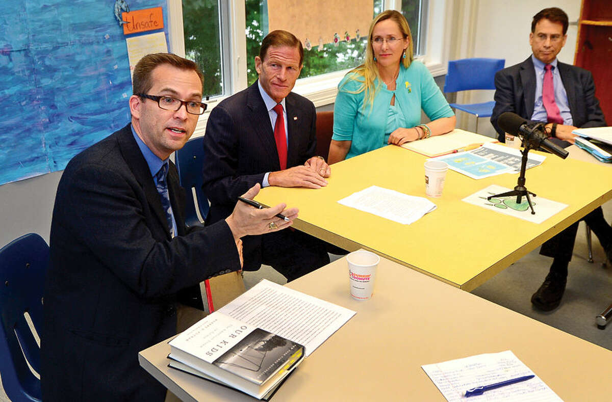 Hour photo / Erik Trautmann Dr. Christopher Kukk, Founding Director of the Center for Compassion, Creativity and Innovation and Jesse Lewis Choose Love Foundation Board Member, U.S. Senator Richard Blumenthal (D-Conn.), Scarlett Lewis, Founder of the Jesse Lewis Choose Love Foundation, Dr Andrew Lustbader, Associate Medical Director at the Child Guidance Center of Mid-Fairfield County, educators and experts have a discussion on the importance of social and emotional learning Tuesday at the Child Guidance Center in Norwalk.