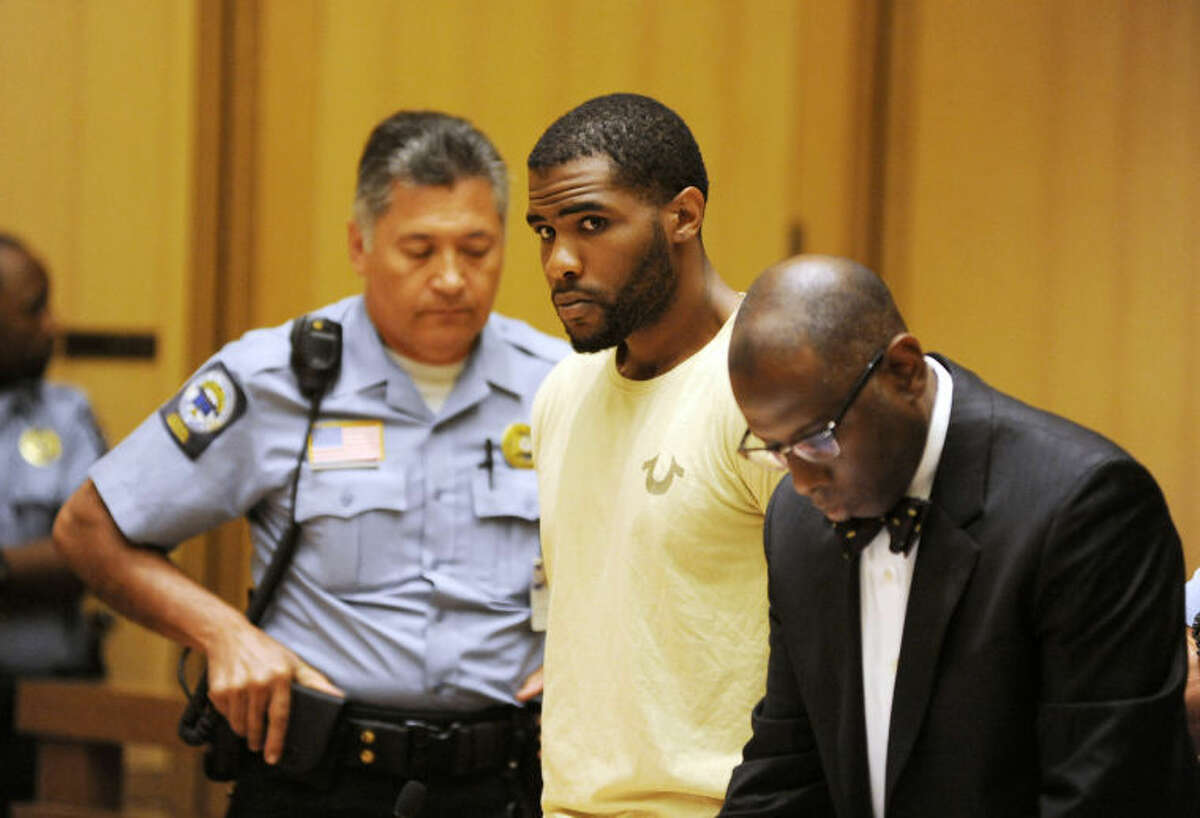 Dayron Wills, 22, was arraigned on five counts each of first-degree assault with a firearm, first degree reckless endangerment, unlawful discharge of a firearm, and possession of marijuana in Stamford, Conn. on Monday July 14, 2014. Wills, who allegedly sprayed a crowd of late-night bar patrons in the middle of downtown Stamford with gunfire early Sunday morning wounding five bystanders was ordered held on $1 million bond.