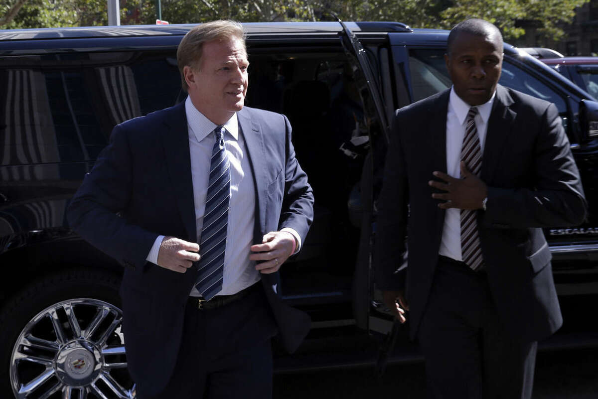 NFL Commissioner Roger Goodell arrives at federal court, Wednesday, Aug. 12, 2015, in New York. New England Patriots quarterback Tom Brady and Goodell are set to explain to a judge why a controversy over underinflated footballs at last season's AFC conference championship game is spilling into a new season.(AP Photo/Mary Altaffer)