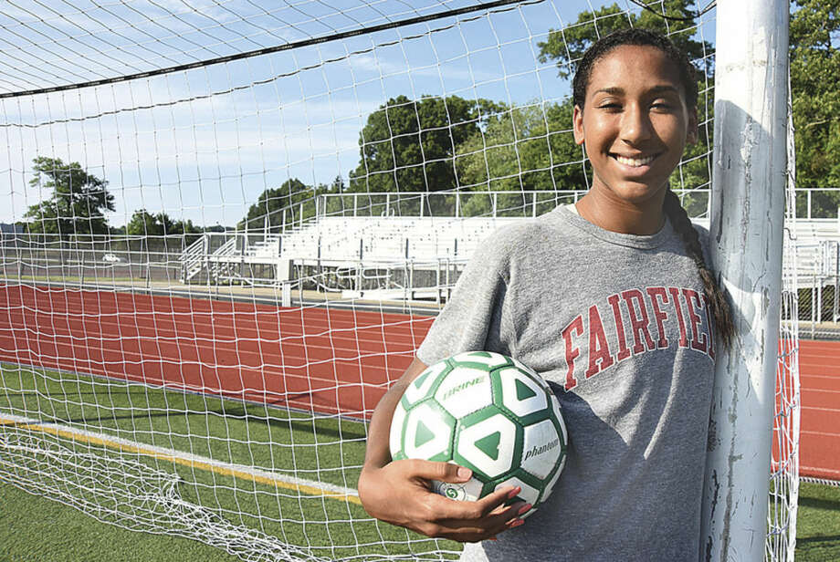 Hour photo/John Nash - Norwalk resident Karolyn Collins, a redshirt junior at Fairfield University, was named co-captain of the Stags women's soccer team this summer.
