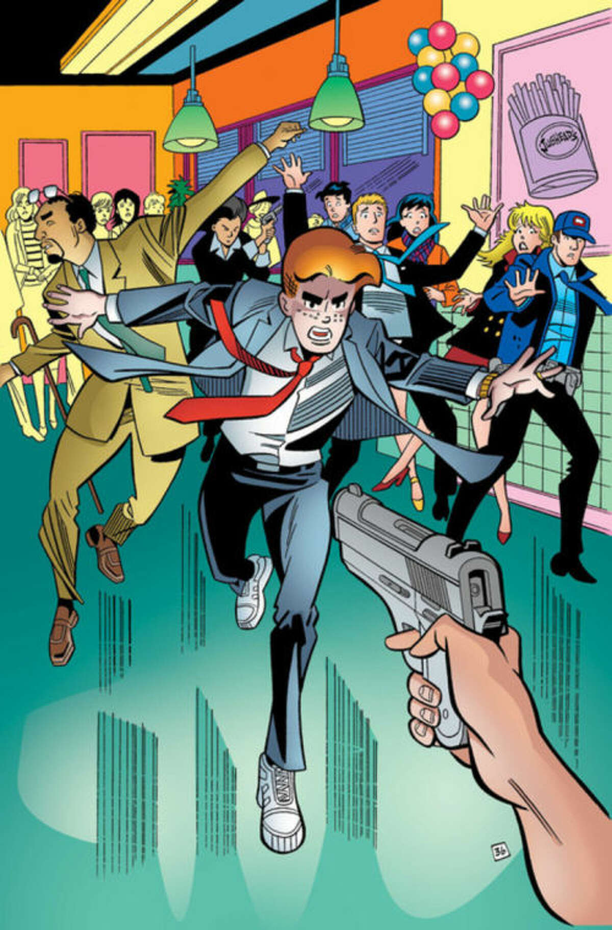 This photo provided by Archie Comics shows Archie in his final moments of life in the comic book,