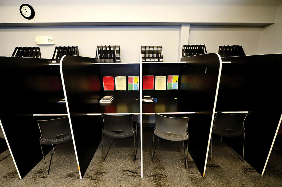 Hour photo / Erik Trautmann Classroom cubbies at The High Road School. The School on North Ave in Norwalk is an educational program serving the instructional and behavioral needs of adolescents in a supportive and structured environment.