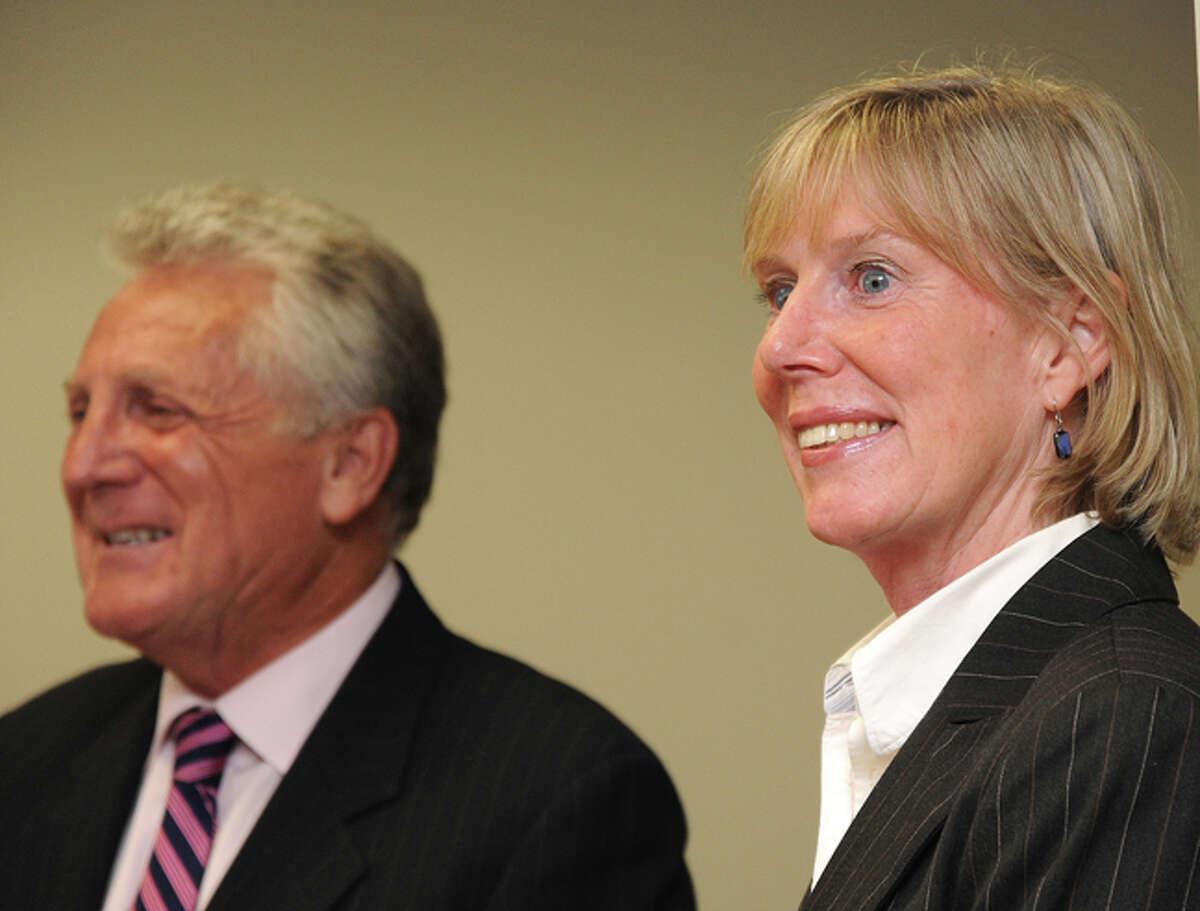 Norwalk Mayor Harry Rilling announces the hiring of the new Economic Development Director, Elizabeth L. Stocker Tuesday at Norwalk City Hall. Hour photo/Matthew Vinci