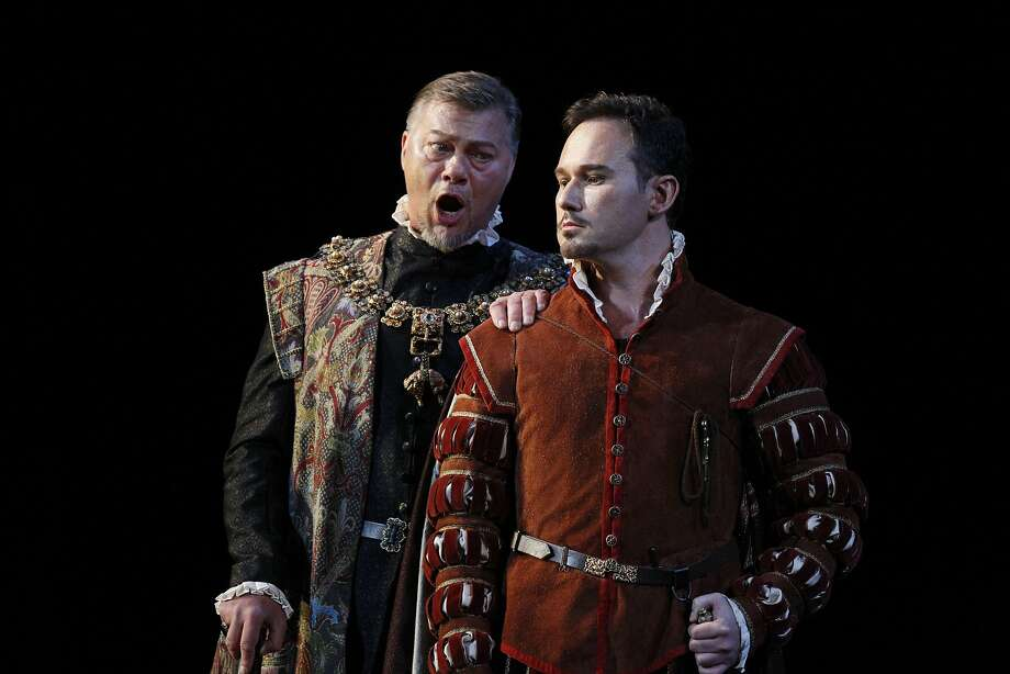 Rene Pape as Phillip II and Mariusz Kwiecien as Rodrigo act during a performance of Don Carlo. Photo: Michael Noble Jr., The Chronicle