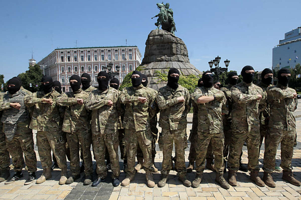 Volunteers take an oath of allegiance to Ukraine, before being sent to the eastern part of Ukraine to join the ranks of special battalion